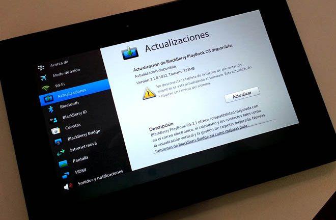 Actualización de BlackBerry PlayBook
