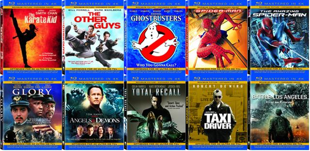 Algunos títulos de los Blu-Ray '4K'