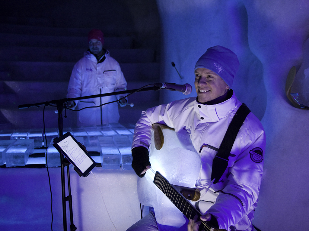 Uno de los instrumentos construidos con hielo (Foto: sitio oficial de Ice Music)
