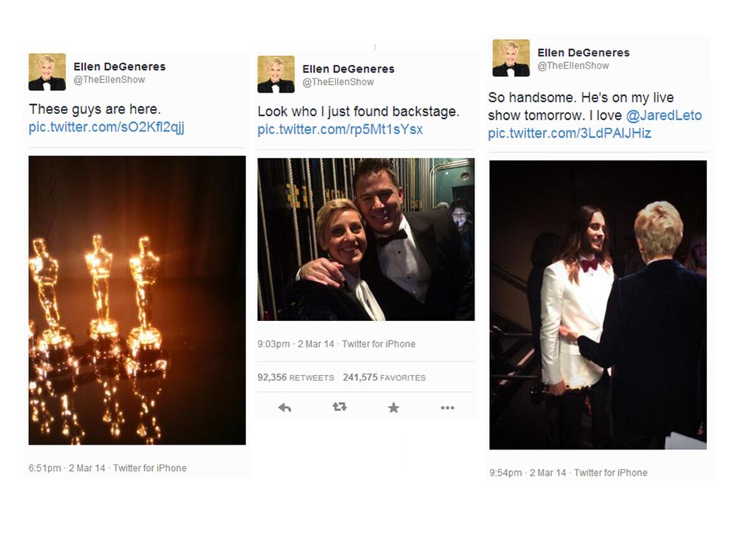 Estas fueron las publicaciones de Ellen DeGeneres usando iPhone.