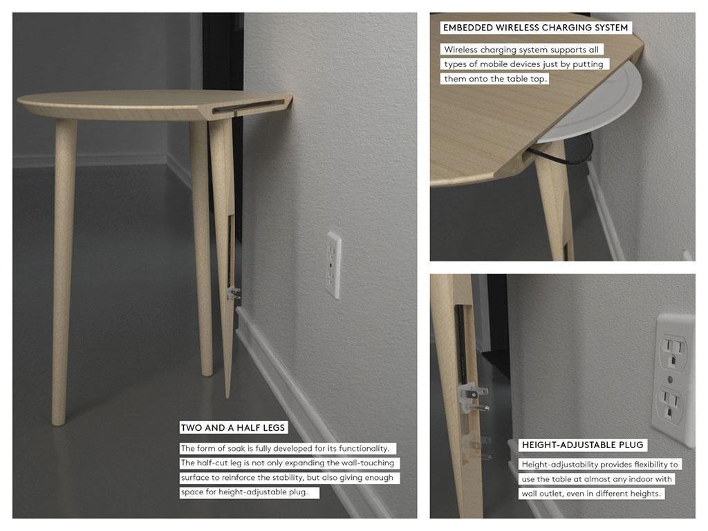Mesa con carga inalámbrica para celulares