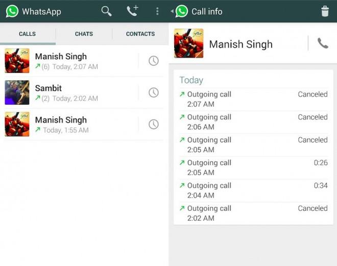 Así se verán las llamadas en WhatsApp.