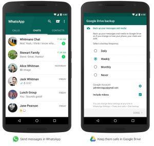 Guarda tus conversaciones de WhatsApp para Android en Google Drive.