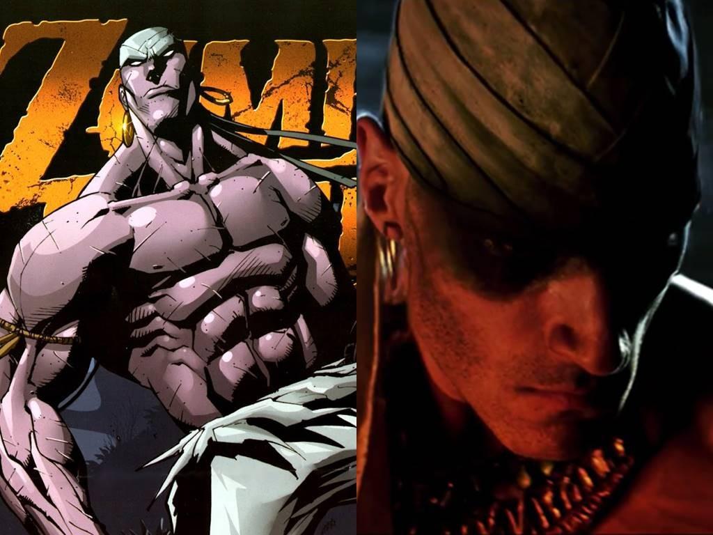 A la izquierda el arte original del cómic, a la derecha la adaptación de televisión.