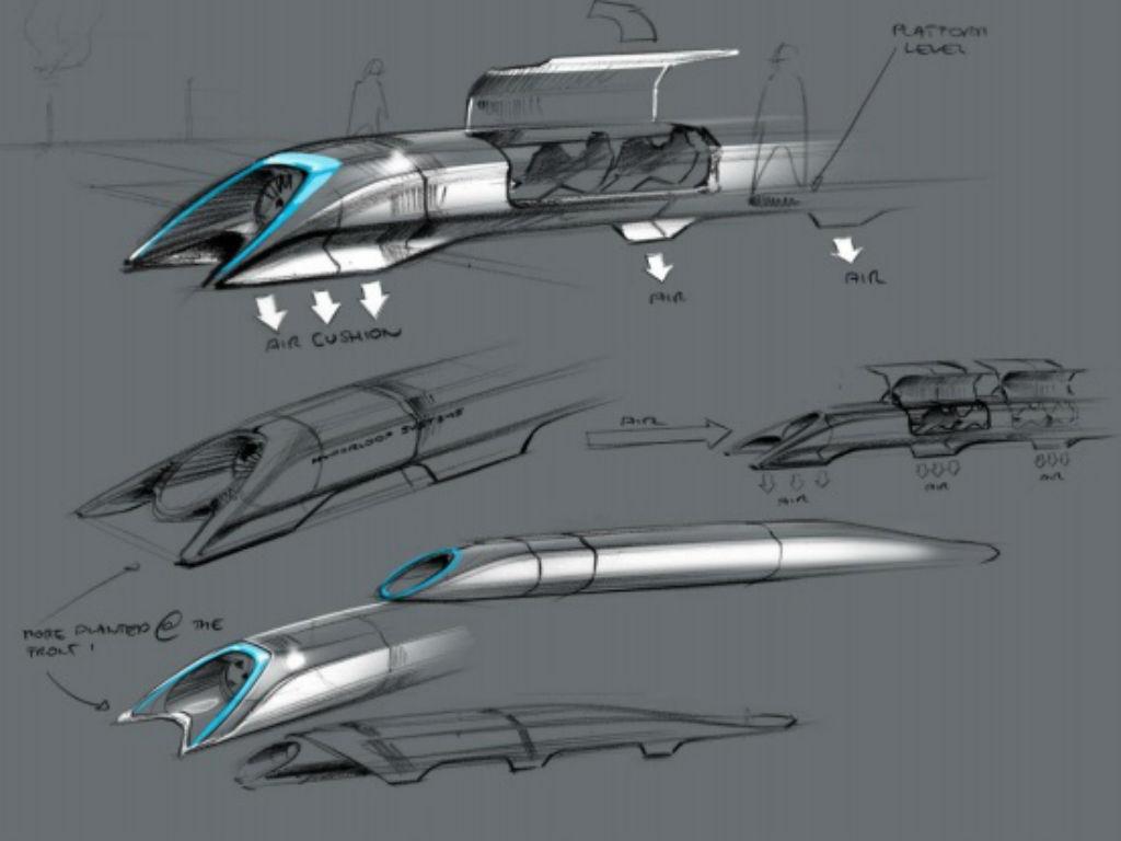 Gráfico del diseño en papel del hyperloop. Imagen: SpaceX.
