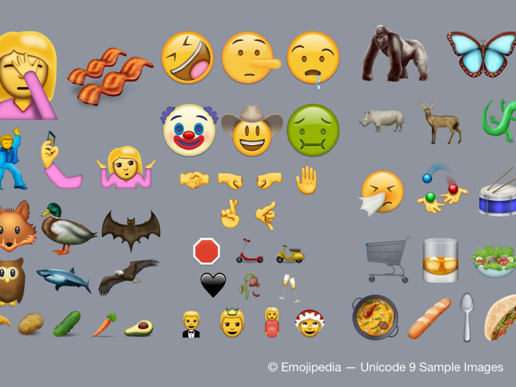 Tocinetas, carita con naúseas, aguacate, un payaso y una mariposa, son algunos de los nuevos emojis.
