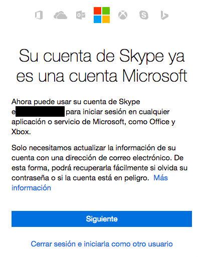 Al iniciar sesión con la cuenta de Skype podrás unificar ambas cuentas y utilizar el inicio de sesión de dos pasos.