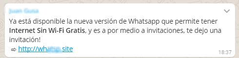 Este es un mensaje típico de una estafa por medio de WhatsApp.