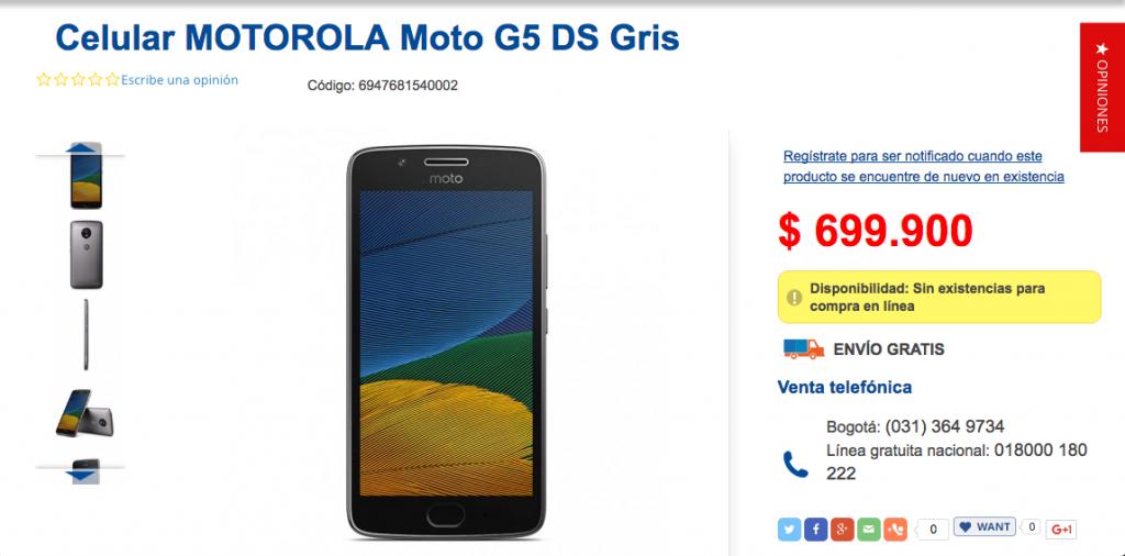 El Moto G5 en Colombia costaría 699.900.