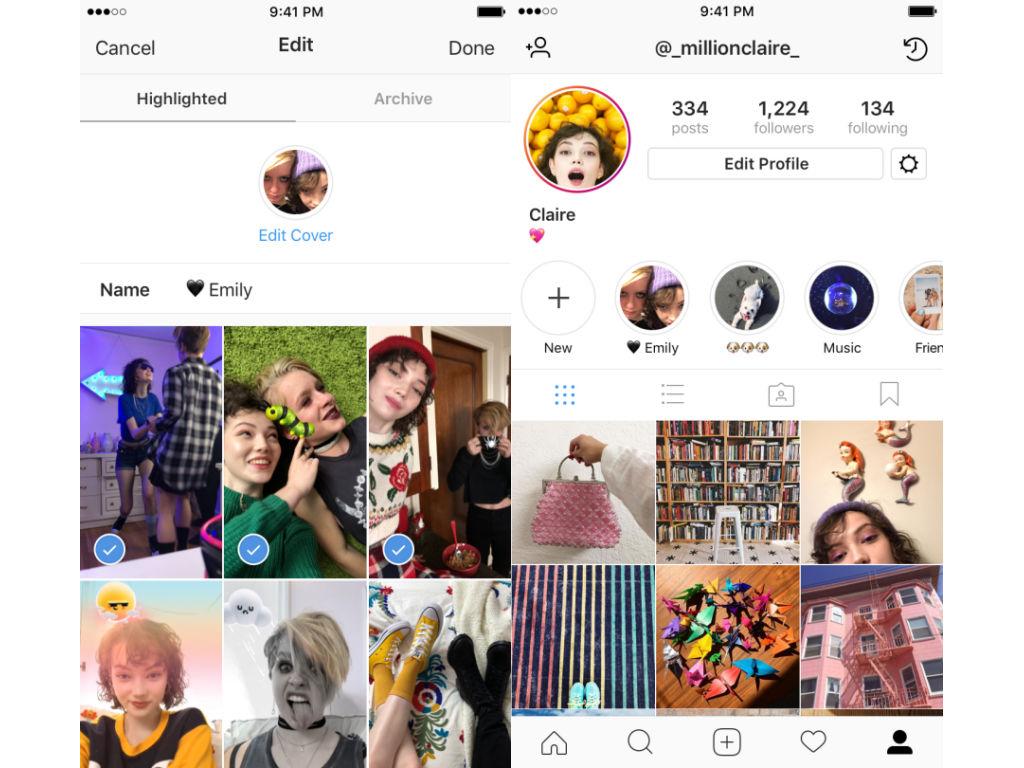 Instagram stories hightlights archivo