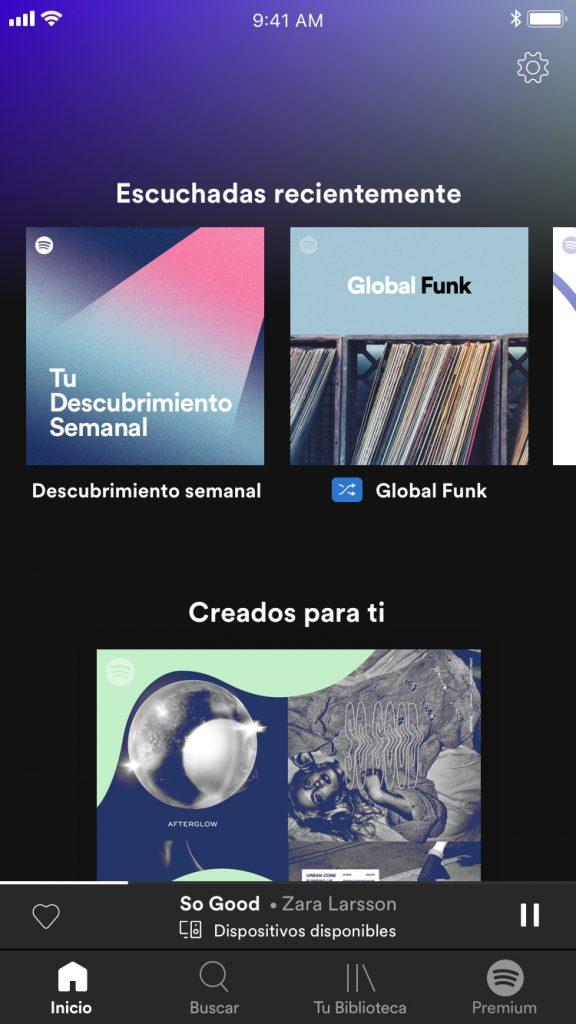 Listas de reproduccion Spotify