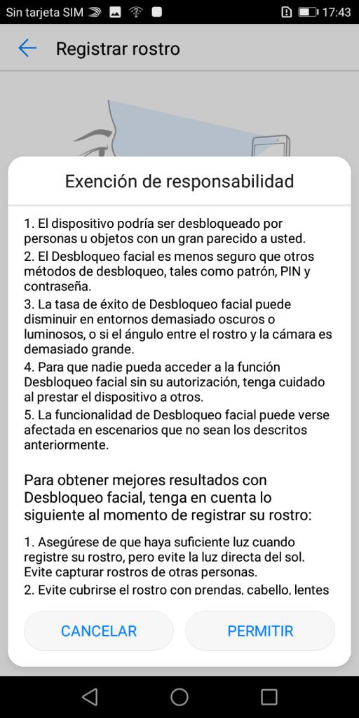 Desbloqueo facial