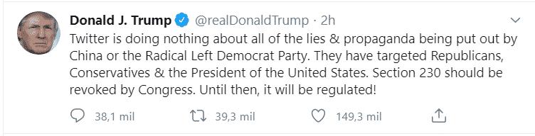 Screenshot de un tuit de Donald Trump