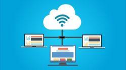 Computadores conectados a la nube. Negocio en la nube
