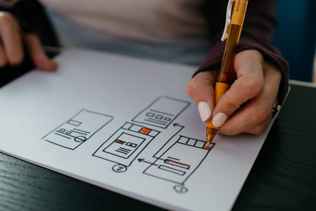 Persona dibujando un wireframe. Cofundador