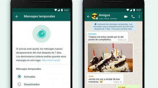 WhatsApp mensajes temporales