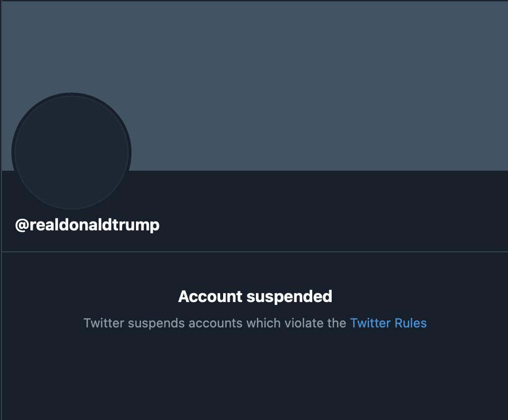 Trump, cuenta Twitter suspendida