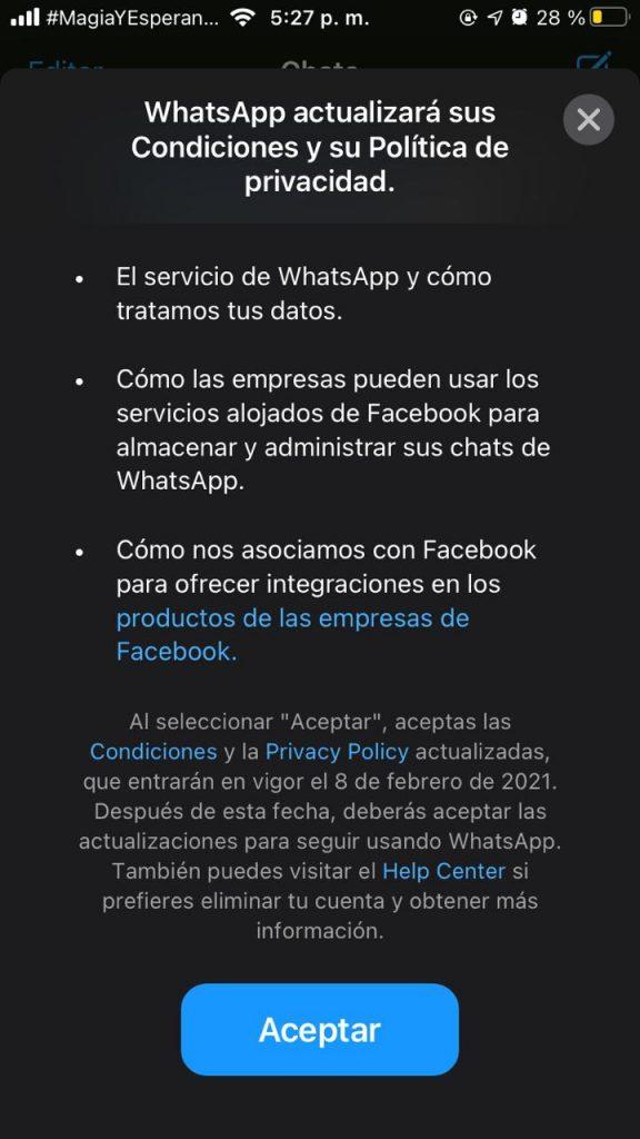 WhatsApp nuevas políticas