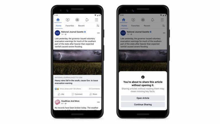 Facebook activa  'Leer antes de compartir'